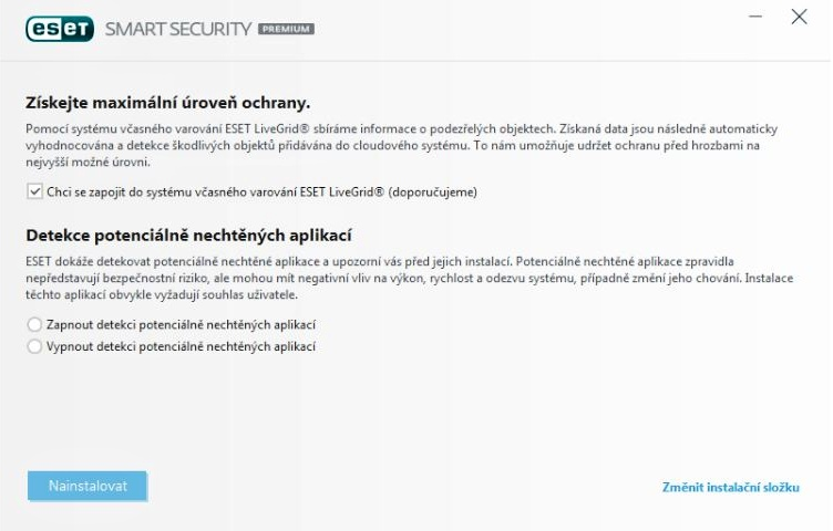 Možnosti instalace ESET Smart Security Premium