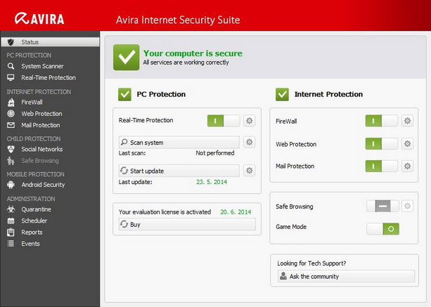 Rozhranní Avira Internet Security Suite