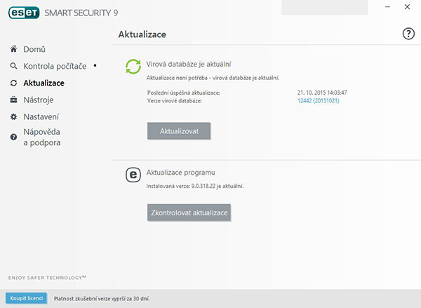 Aktualizace ESET Smart Security